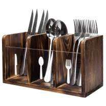 MyGift Rustic Torched Dark Brown Wood Dining Utensils Flatware Holder Caddy Organizer Box with Fork, Spoon and Knife Labels