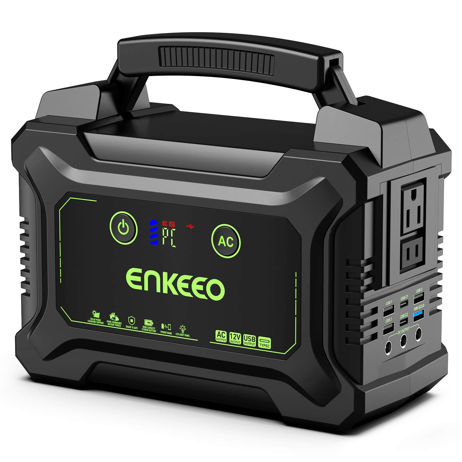 ENKEEO Portable Power Station 222W, Power Charger Camping CPAP Generator Backup Supply 110V/200W (Solar Panel Optional) AC Lithium Battery Outlet, 4USB, 2Type-C Port, LED Light for Travel Emergency