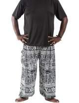 GLUDEAR Men's Casual Smocked Waist Boho Printed Pockets Harem Hippie Yoga Pants
