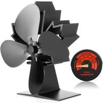 CWLAKON Wood Stove Fan-Silent Operation 4 Blades with Stove Thermometer for Wood/Log Burner/Fireplace,Eco Friendly and Efficient Heat Distribution (2019 New Designed)