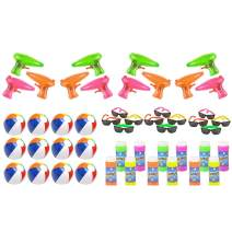 Vlish Pool and Beach Party Favors Mega Bundle - Outdoor Summer Fun Water Toys Bulk Pack - 48 Kid Toys Included. Beach Balls, Squirt Guns, Bubbles and Childrens Sunglasses