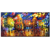 Asdam Art Paintings,24x48 inch Hand Painted Colorful 3D Oil Painting Abstract Modern Wall Art Romantic Lovers in Rain Landscape Night Wall Picture Artwork for Home livingroom Bedroom Bathroom Framed