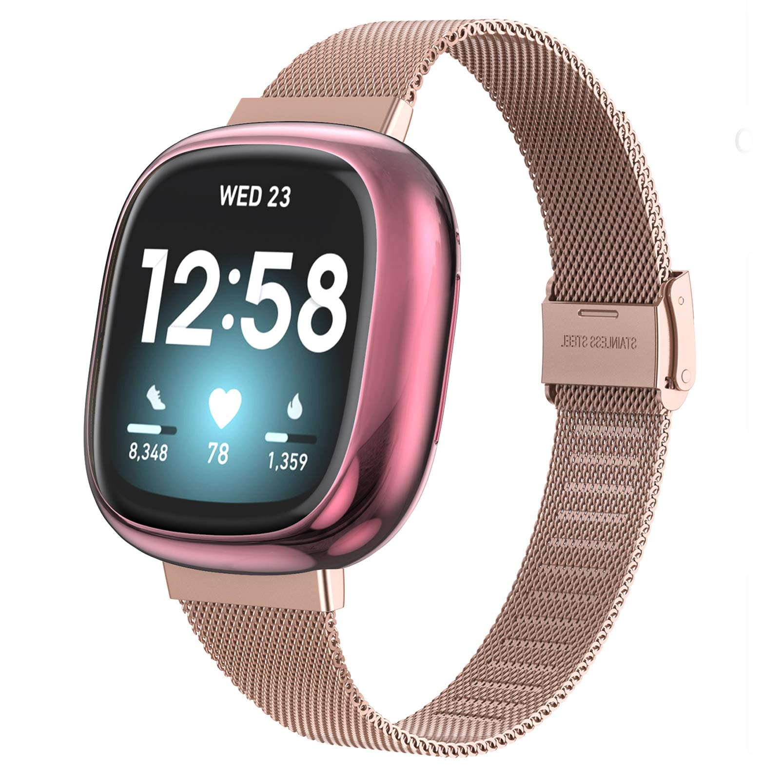 Girovo Metal Bands with Screen Protector Case Compatible with Fitbit Versa 3/Sense, Stainless Steel Mesh Bands Strap Bracelet Wristbands Accessories for Fitbit Versa 3 Bands for Women Men, Pink Gold