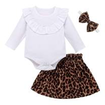 YOUNGER STAR Newborn Baby Girls Skirt Outfits Ruffles Solid Color Romper+Leopard Print Tutu Skirts+Headband Outfits