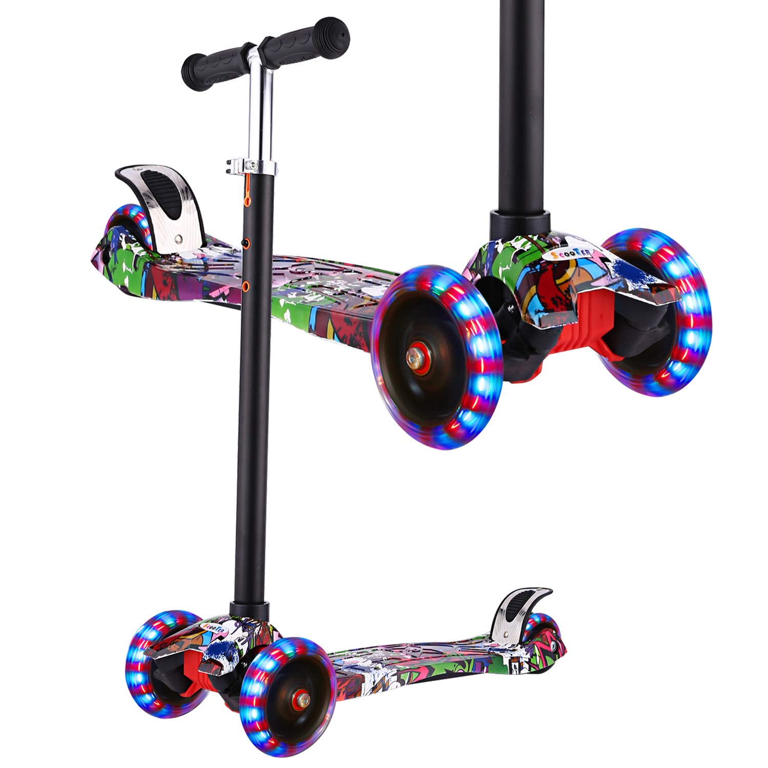 Hikole Scooter for Kids, Kick Scooter for Toddlers Girls & Boys with LED Light Up Scooters Wheels, Adjustable Height Scooter for Children Ages 3-12