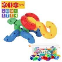 ETI Toys, STEM Learning, 80 Piece Konnectin Elbowz. Build Dinosaur, Tiger, Dog, Endless Designs. 100 Percent Safe, Fun, Creative Skills Development. Gift, Toy for 3, 4, 5 Year Old Boys and Girls