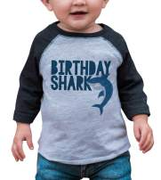 7 ate 9 Apparel Kid's Birthday Shark Grey Baseball Tee