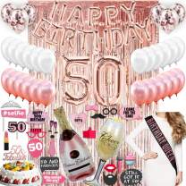 50th BIRTHDAY DECORATIONS, with Photo Props Included| 50 Birthday Party Supplies| 50 Cake Topper Rose Gold| Banner| Rose Gold Confetti Balloons for her| Silver Foil Curtain Backdrop Props or Photos 50