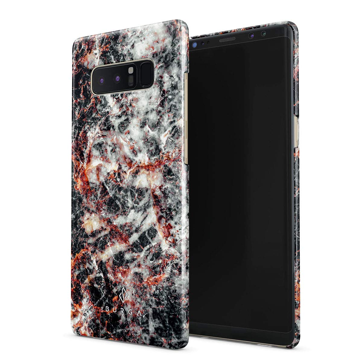 BURGA Phone Case Compatible with Samsung Galaxy Note 8 - Volcano Island Lava Fire Black Marble Cute Case for Girls Thin Design Durable Hard Shell Plastic Protective Case