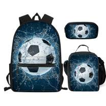 chaqlin Fashion Soccer School Shoulder Bag Set with Kid's Food Bags Lunch Bag and Pencil Bags for Girls Outdoor Picnic