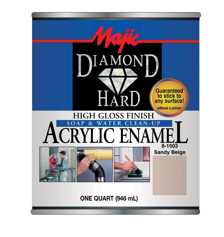 Majic Paints 8-1503-2 Diamond Hard Acrylic Enamel High Gloss Paint, 1- Quart, Sandy Beige
