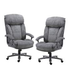 CLATINA Ergonomic Big & Tall Executive Office Chair with Upholstered Swivel 400lbs High Capacity Adjustable Height Thick Padding Headrest and Armrest for Home Office BIFMA Certified Grey 2 Pack