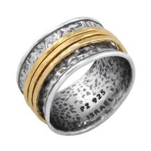 PZ Paz Creations 925 Sterling Silver Gold Over Silver Spinner Ring | Three Spinners Hammered Design | Hypoallergenic Made in Israel