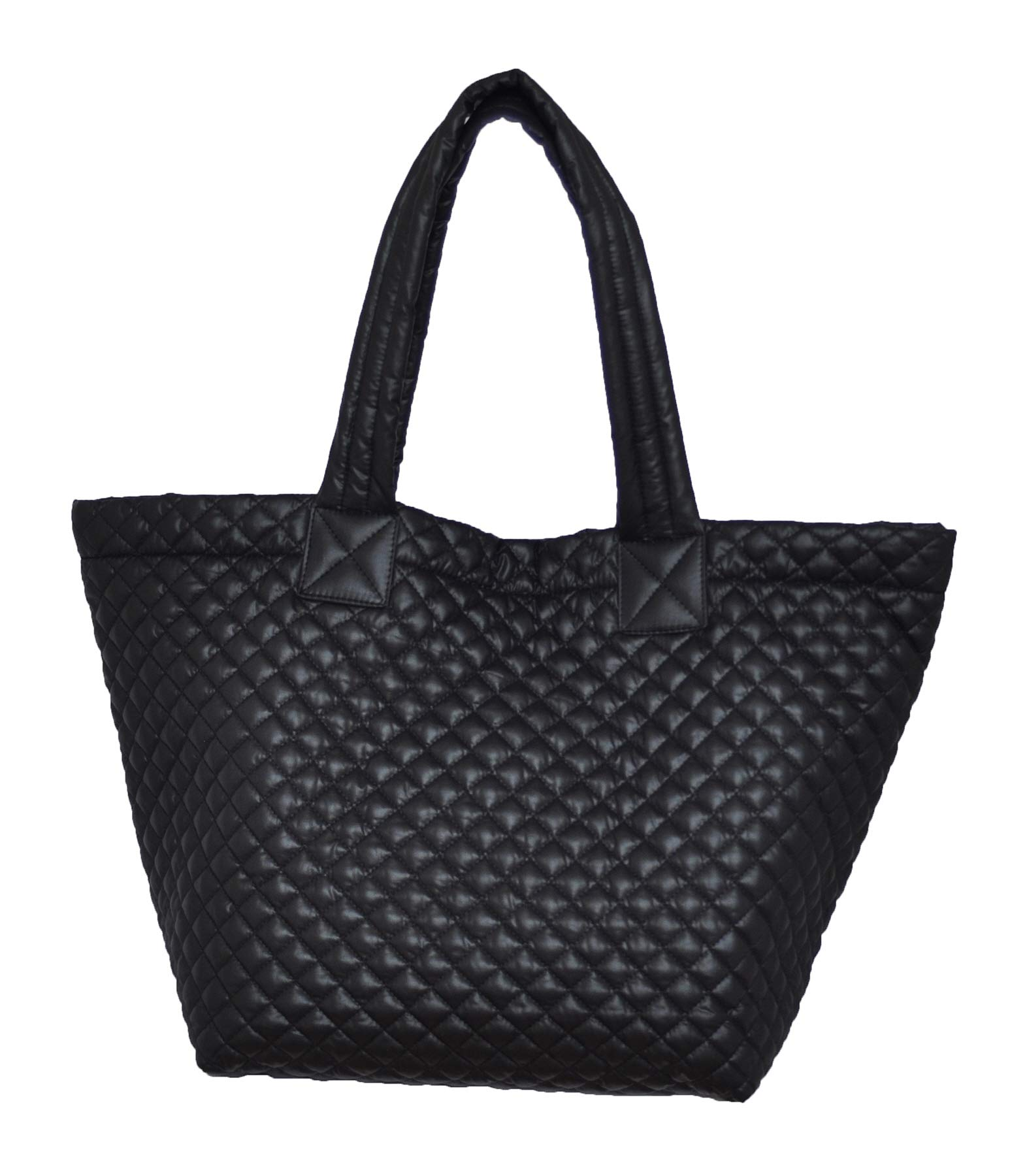ClaraNY Comfortable Light weight Quilted Tote bag with Pouch water repellent Black