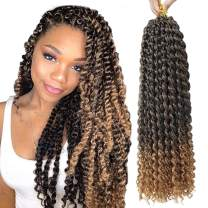 """7 Packs Passion Twist Hair 18 Inch Long Ombre Bohemian Water Wave For Crochet Braiding Hair Curly Crochet Hair Braids Synthetic Hair Extensions (18""""7pcs, T27)"""