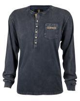 Guinness Classic Washed Black Henley Shirt - Cotton Fashion Long Sleeve Button T-Shirt