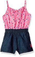 U.S. Polo Assn. Baby Girls' Confetti Dots Denim Romper