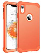 """BENTOBEN iPhone XR Case, iPhone XR Phone Case, 3 in 1 Heavy Duty Rugged Hybrid Hard PC Cover Soft Silicone Bumper Impact Resistant Non-Slip Shockproof Protective Case for iPhone XR 6.1"""", Coral Orange"""