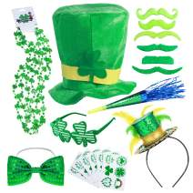 50Pcs St. Patrick's Day Party Favor Set Saint Patricks Day Irish Accessories Shamrock Green Party Supplies Toys Includes Temporary Tattoos, Mustaches, Feathered Headband, Glasses, Horn and Bow Tie, Shamrock Clover Necklace and Leprechaun Hat