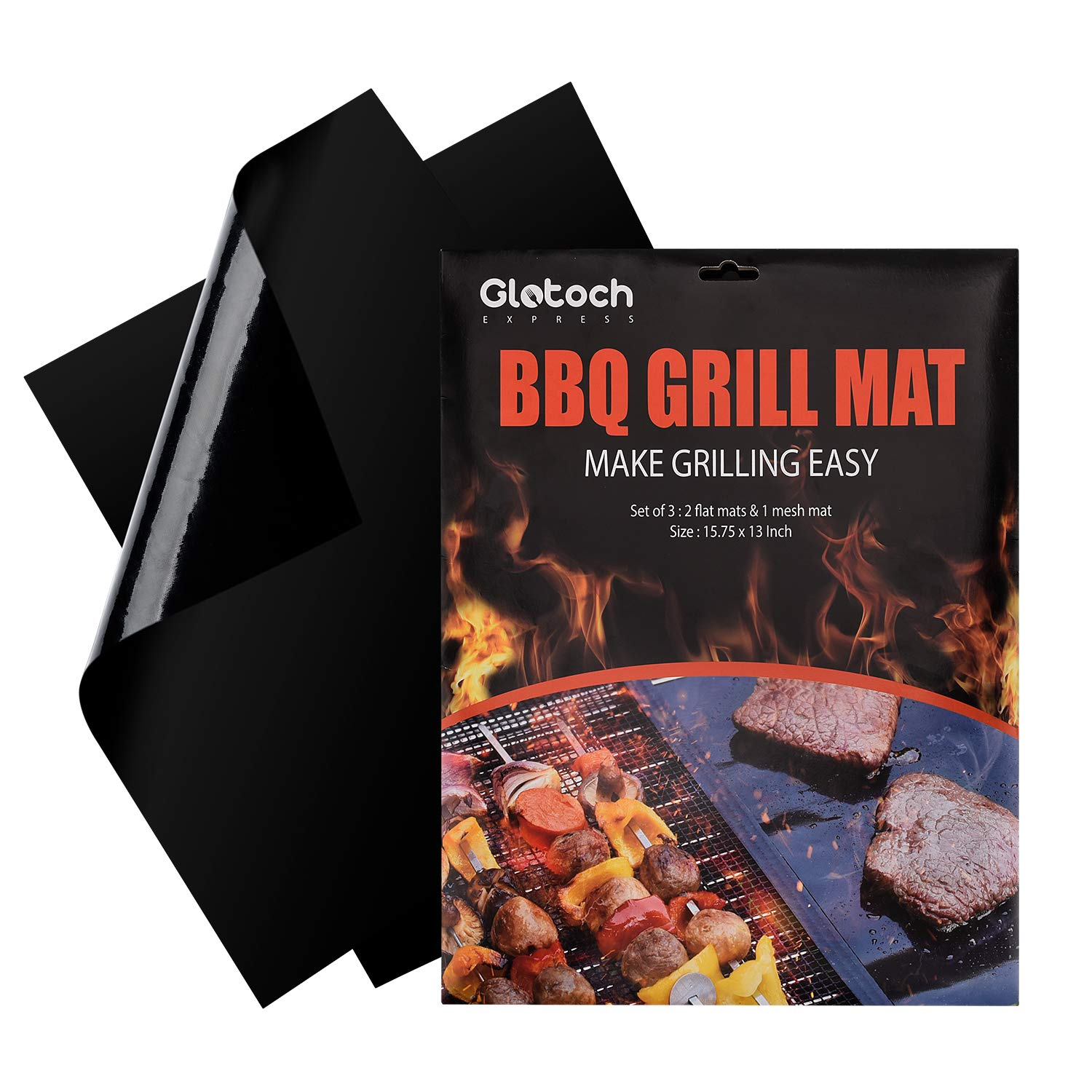 Grill Mat - Set of 3 Non Stick BBQ Grill Mats -Heavy Duty,Reusable and Dishwasher safe - Easy Clean & Easy Use on Gas, Charcoal, BBQ,Electric Grill