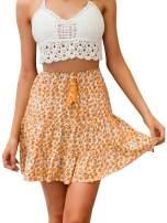Miessial Women's Floral Print Short A-Line Skirt Cute High Waist Summer Mini Skirt