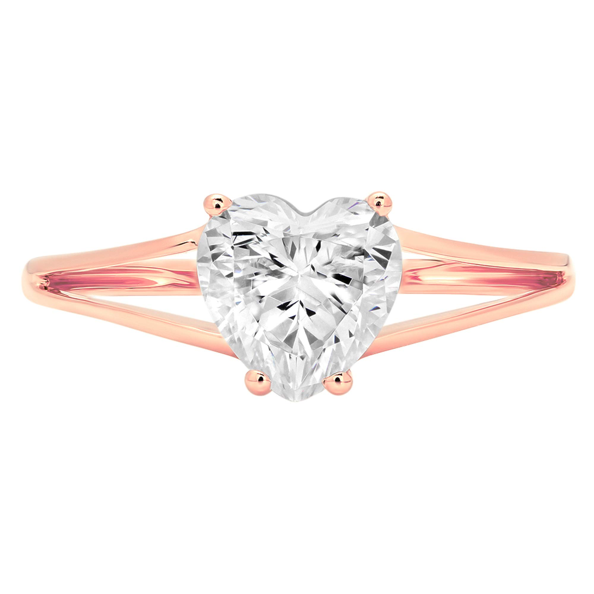 1.50 ct Brilliant Heart Cut Solitaire split shank Highest Quality Lab Created White Sapphire Ideal VVS1 D 4-Prong Engagement Wedding Bridal Promise Anniversary Ring Solid Real 14k Rose Gold for Women