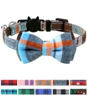 Joytale Breakaway Cat Collar with Bow Tie and Bell, Cute Plaid Patterns, 2/1 Pack Kitty Safety Collars