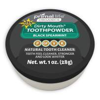 Primal Life Organics | Dirty Mouth Activated Charcoal Tooth Powder | Gently Polishes, Whitens, Re-Mineralizes, Strengthens Teeth | 1 Ounce (3 Month Supply) | Black Spearmint