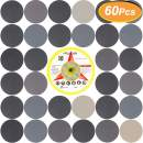 60 PCS 5 Inch Sandpaper, GOH DODD Wet Dry Sander Sheets with Backing Pad and Soft Foam Buffering Pad, 60 to 10000 Grits Grinding Abrasive Sanding Disc for Wood Metal Mirror Jewelry Car