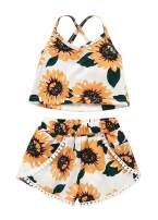 VISGOGO Toddler Baby Girls Outfits Clothes Set Halter Crop Tops + Flamingo Short Pants (6-12 Months, X)