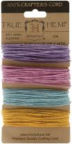 Hemptique Hemp Cord 4 Color Cards - Made with Love - Crafter's No. 1 Choice – Eco Friendly – Plant Hanger - Scrapbooking – Gardening – Macramé – Home Décor (Pastel Pack)
