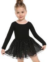 Zaclotre Skirted Leotard Girls Sparkle Long Sleeve Tutu Ballet Dress