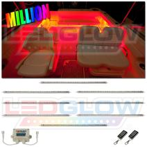 """LEDGlow 8pc Million Color LED Boat Marine Deck & Cabin Accent Lighting Kit - 20"""" Waterproof Flexible Light Strips - Screw Cap Connectors with O-Rings - Includes Control Box & Wireless Remote"""