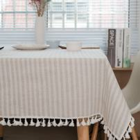 ColorBird Stripe Tassel Tablecloth Cotton Linen Dust-Proof Table Cover for Kitchen Dinning Tabletop Decoration (Rectangle/Oblong, 55 x 120Inch, Beige)