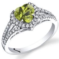 14K White Gold Peridot Diamond Halo Ring Heart Shape 1.65 Carats Total