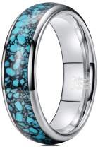 THREE KEYS JEWELRY Mens Womens Silver Tungsten Ring 4mm 6mm 8mm Turquoise Granules Inlay Wedding Band