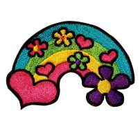 Hippie Heart Daisy Rainbow Patch Groovy Kids Happy Embroidered Iron On Applique