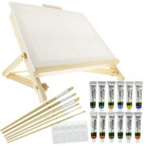 """US Art Supply 21-Piece Acrylic Painting Table Easel Set with, 12-Tubes Acrylic Painting Colors, 11""""x14"""" Stretched Canvas, 6 Artist Brushes, Plastic Palette with 10 Wells"""