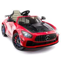 Carbon Car for Kids GT AMG Mercedes Benz , 12V Powered Kids Ride On Car, Leather Seat, LED Lights, Parental Remote, Built-in LCD Touch Screen TV Dashboard, Seatbelt (Carbon Red)
