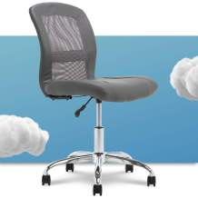 Serta Essential Mesh Low-Back Computer Desk Task Chair with No Arms for Home Office or Conference Room, Faux Leather, Gray