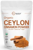 Organic Ceylon Cinnamon Powder, 1 Pound (454 Grams), Supports Healthy Metabolism and Antioxidant, Best Natural Flavor for Cookies and Baking, No GMOs and Vegan Friendly