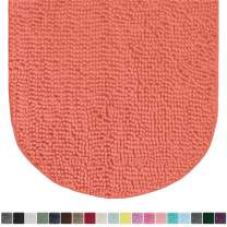 Gorilla Grip Original Luxury Chenille Oval Bath Rug Mat, 42x24, Extra Soft and Absorbent Large Shaggy Bathroom Rugs, Machine Wash Dry, Plush Carpet Mats for Tub, Shower, and Bath Room, Coral