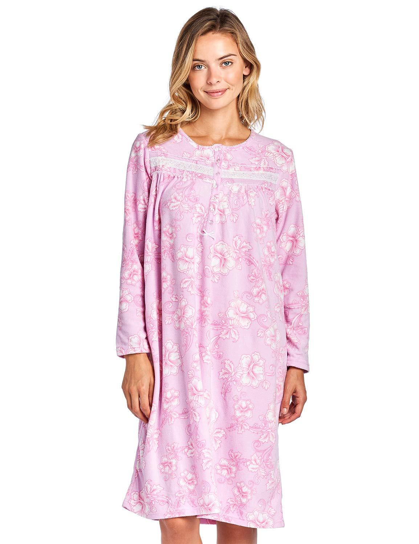 Casual Nights Women's Cozy Long Sleeve Fleece Nightgown
