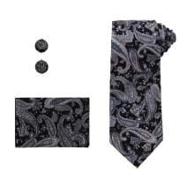 Dan Smith Men's Fashion Cotton Necktie Cufflinks Hanky with Box