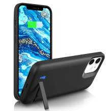 """[Upgraded] Battery Case for iPhone 12 Mini, 5000mAh Rechargable Charging Case with Kickstand, Priority Charging Extended Charger Case for Apple 12 Mini (5.4"""")-Black"""