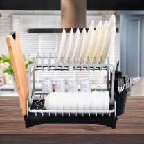 Dish Drying Rack, Dailyart 2 Tier Large Kitchen Dish Rack with Utensil Holder and Cup Holder for Countertop, Dish Drying Rack Kitchen Organizer with Drain Board, Silver