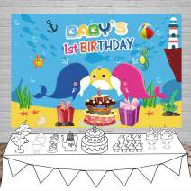 Laeacco Baby's 1st Birthday Party Backdrop 5x3ft Vinyl Photography Background Undersea World Cartoon Baby Whale Dinosaur Starfish Whale Yellow Pink Blue Color Cake Gifts Birthday Decoration Children