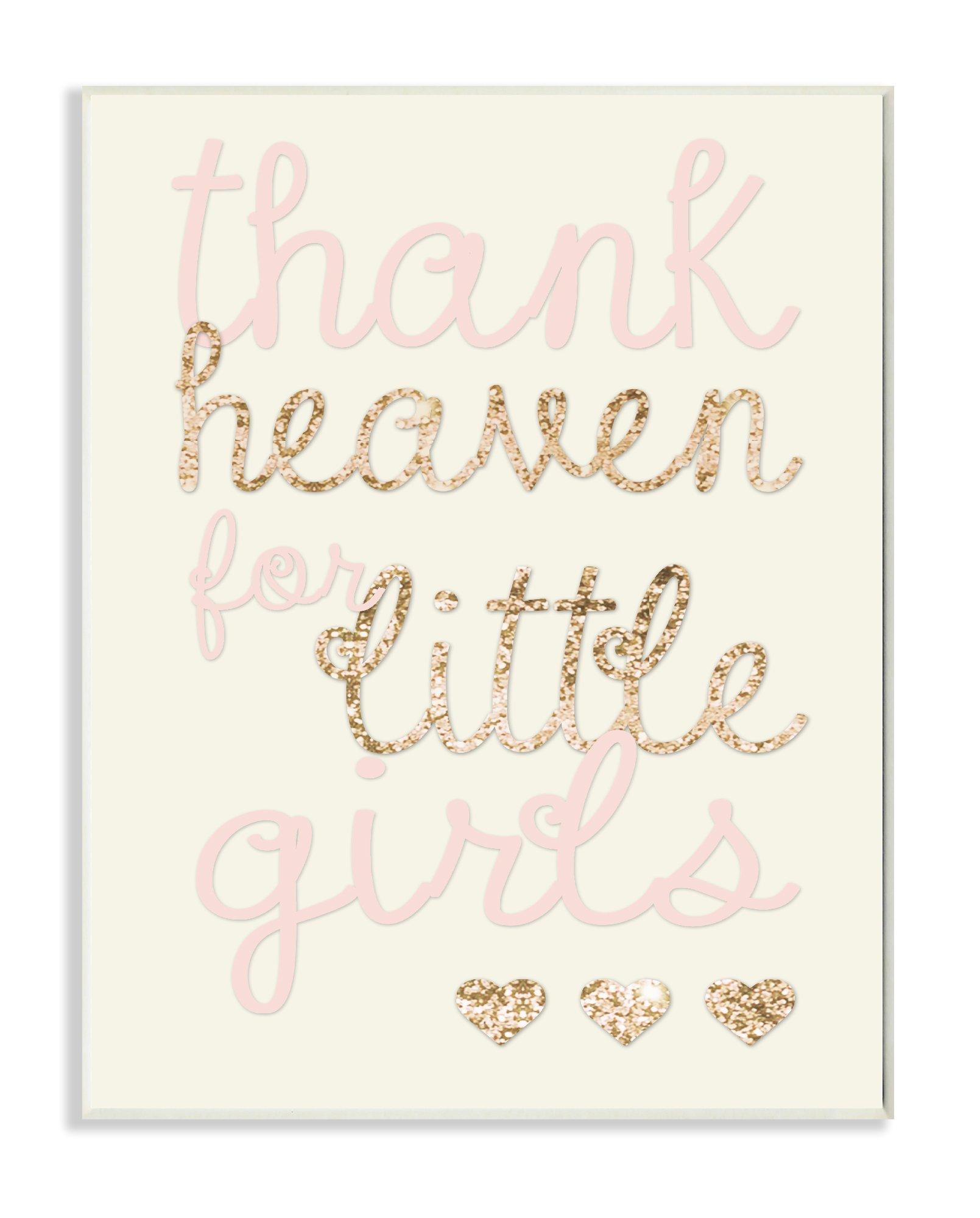 Stupell Home Décor Thank Heaven For Little Girls Sequin Wall Plaque Art, 10 x 0.5 x 15, Proudly Made in USA