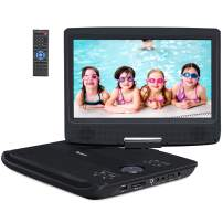 """12"""" Portable DVD Player for Car with 10.1"""" Swivel Large Screen, 5-Hour Rechargeable Battery, Last Memory, 9.84ft Car Charger / Wall Charger, Support AV in / Out and Region Free"""
