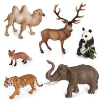 Volnau Animal Figurines Toys 6PCS Asia Animal Figures Zoo Pack for Toddlers Kids Christmas Birthday Gift Preschool Educational Elephant Camel Panda Desert Jungle Forest Animal Toys Set